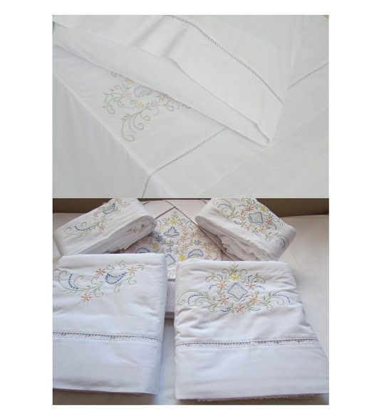 Suíte 250 fios Crivo branco/colorido  - Helô Reis Store