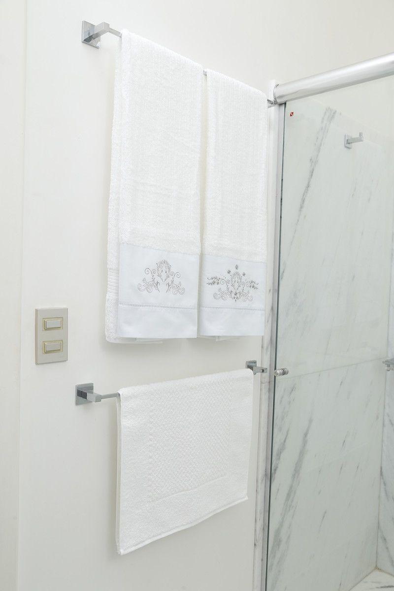Roupa de Cama e Toalha de Banho Suíte 250 fios  Bud branco/cinza  - Helô Reis Store