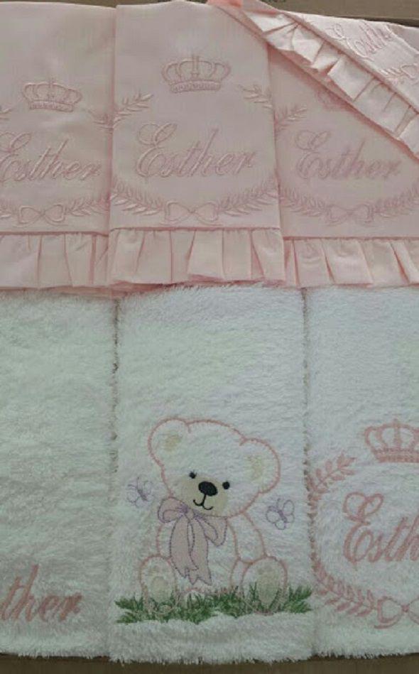 Suíte de Berço Luxo 07 Peças - Urso com Nome e Brasão  - Helô Reis Store