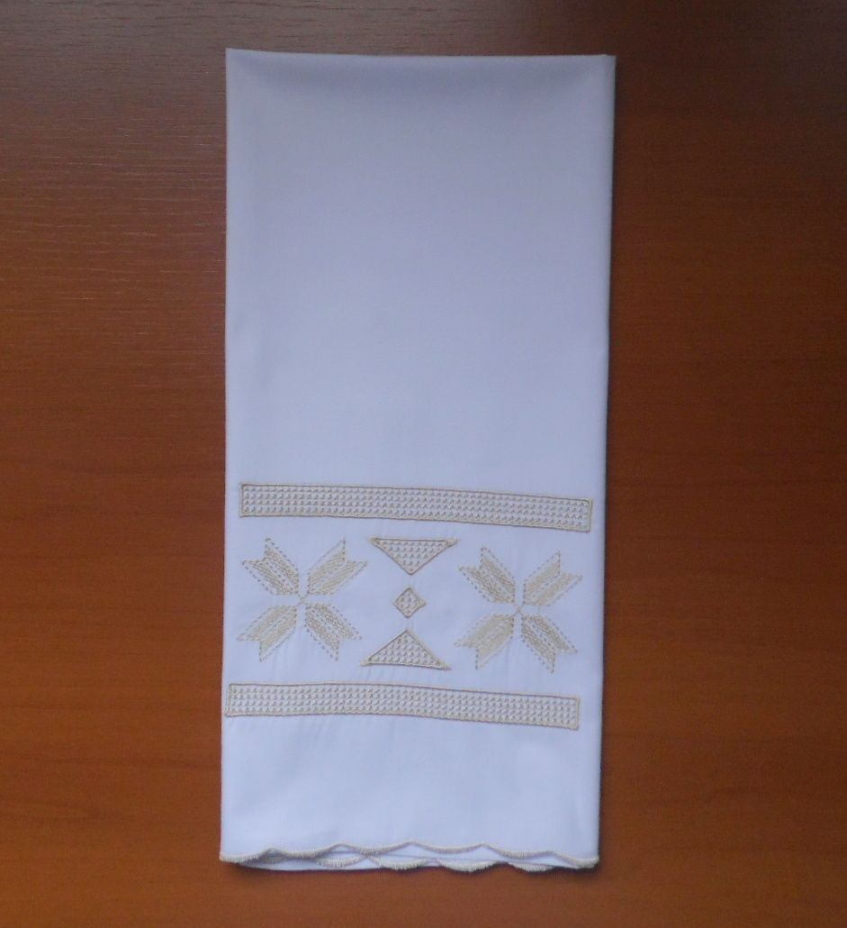 Toalha Lavabo Percal 250 fios Grego branco/ pérola  - Helô Reis