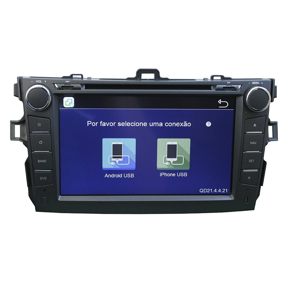 "Central Multimidia Corolla 2008 2009 2010 2011 2012 2013 2014 Tv digital Gps Bluetooth Usb  Sd Card Tela 8""  Camera  Espelhamento Android e Iphone  - MARGI PARTS"