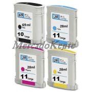 4 Cartuchos Plotter HP DesignJet 70, 100 plus, 110 plus,110NR plus - Extra Tinta - Market-Ink Plotter & InkJet