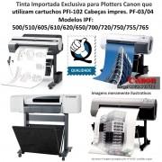 Tinta 500ml Plotters Canon IPF Serie 500, 600, 700, dos cartuchos cód PFI-102 - Market-Ink Plotter & InkJet