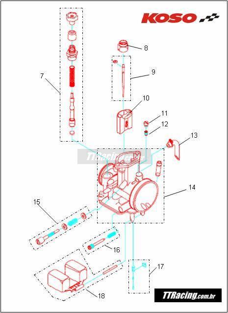 Afogador carburador KOSO 34 32 30mm  - T & T Soluções
