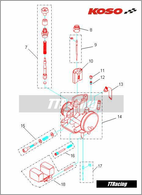 Corpo do carburador KOSO 32mm  - T & T Soluções