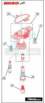 Kit parafuso de fixação da base de gicleurs KOSO  - T & T Soluções