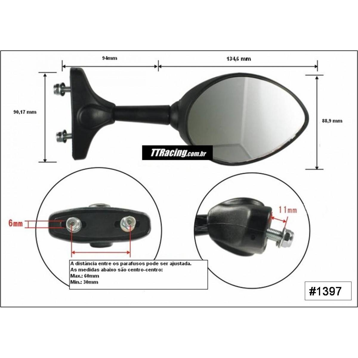 Espelho retrovisor GSX750F Ninja CBR Hayabusa  - T & T Soluções