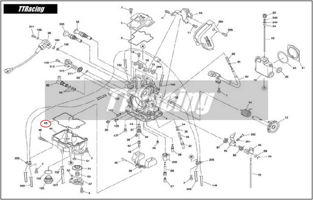 Junta da Cuba Carburador CR-FLAT MX  - T & T Soluções