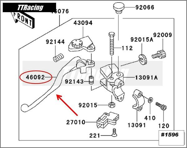 Manete de embreagem ZX6R 95 96 97 98 99  - T & T Soluções