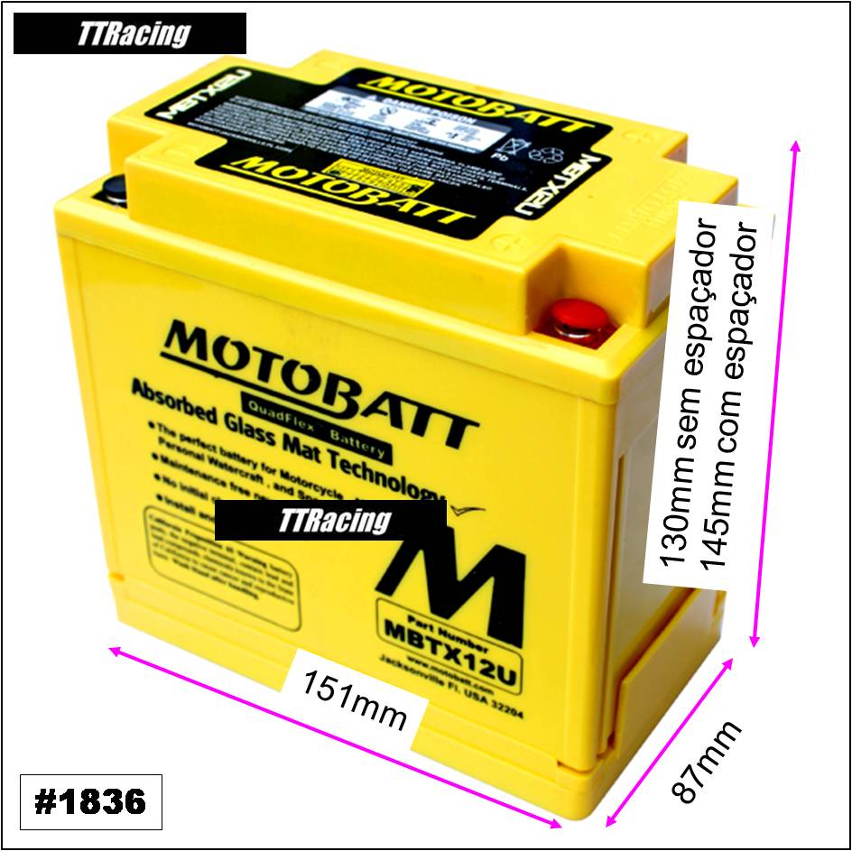 Bateria MOTOBATT MBTX12U  - T & T Soluções