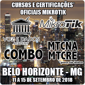 Belo Horizonte - MG - COMBO - Cursos e Certificações Oficiais Mikrotik - MTCNA e MTCRE