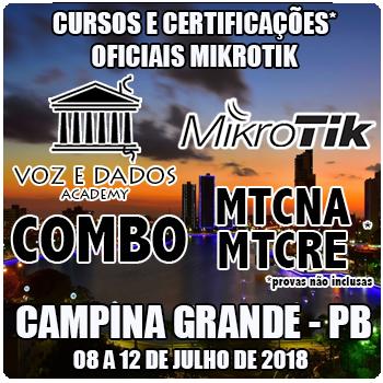 Campina Grande - PB - COMBO - Cursos e Certificações Oficiais Mikrotik - MTCNA e MTCRE