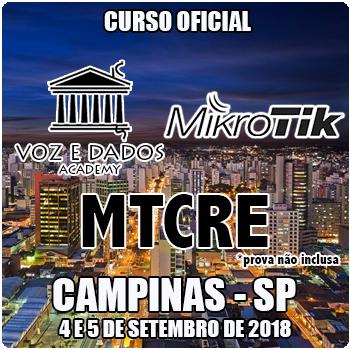 Campinas - SP - Curso e Certificação Oficial Mikrotik MTCRE