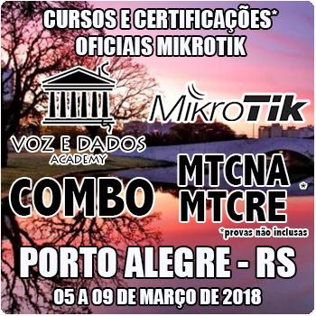 Porto Alegre - RS - COMBO - Cursos e Certificações Oficiais Mikrotik - MTCNA e MTCRE