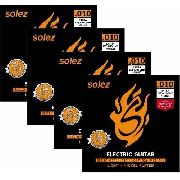 Kit com 4 Encordoamentos Solez SLG10 Guitarra 010