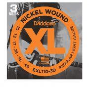 Kit com 3 Encordoamento Daddario para Guitarra EXL110-3D  010-046