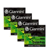 Kit com 4 Encordoamentos Giannini MPB para Violão Nylon