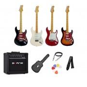Kit Guitarra Tagima TG530 Strato Amplificador Borne G30 BK e Acessórios