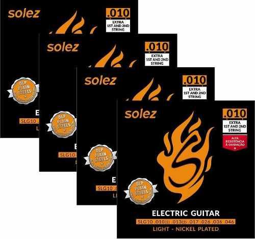 Kit com 4 Encordoamentos Solez SLG10 Guitarra 010