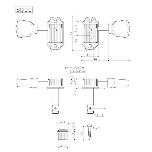 Tarraxas Gotoh SD90SL Níquel  3+3