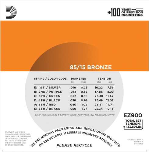 Encordoamento Daddario Violão Aço 010 EZ900B