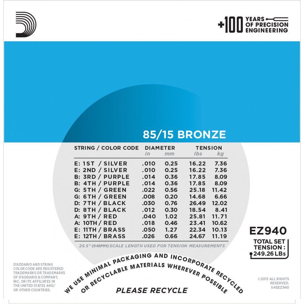 Encordoamento Daddario Violão Aço 12 Cordas EZ940 010-050