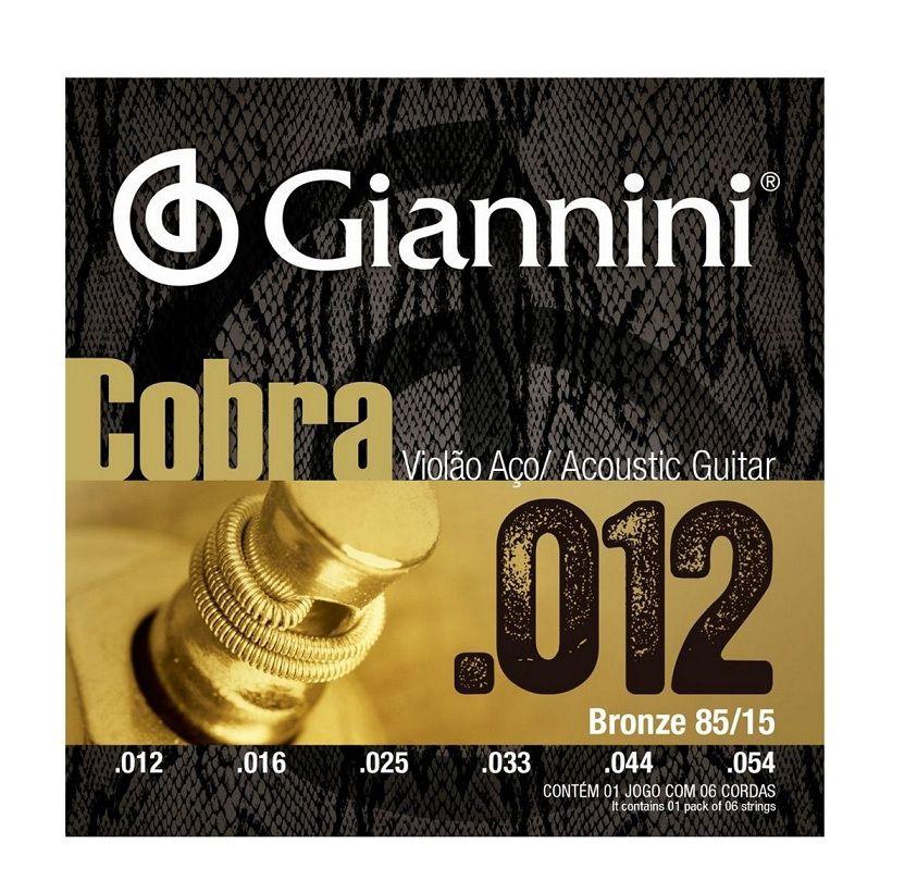 Encordoamento Giannini Cobra 012 para Violão Aço