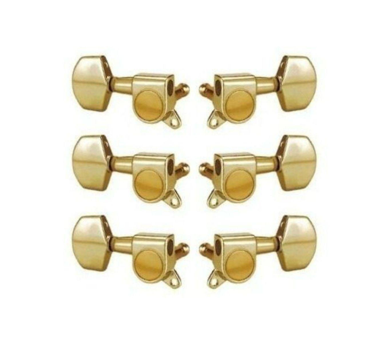 Jogo de Tarraxas para Guitarra 3+3 Dourada