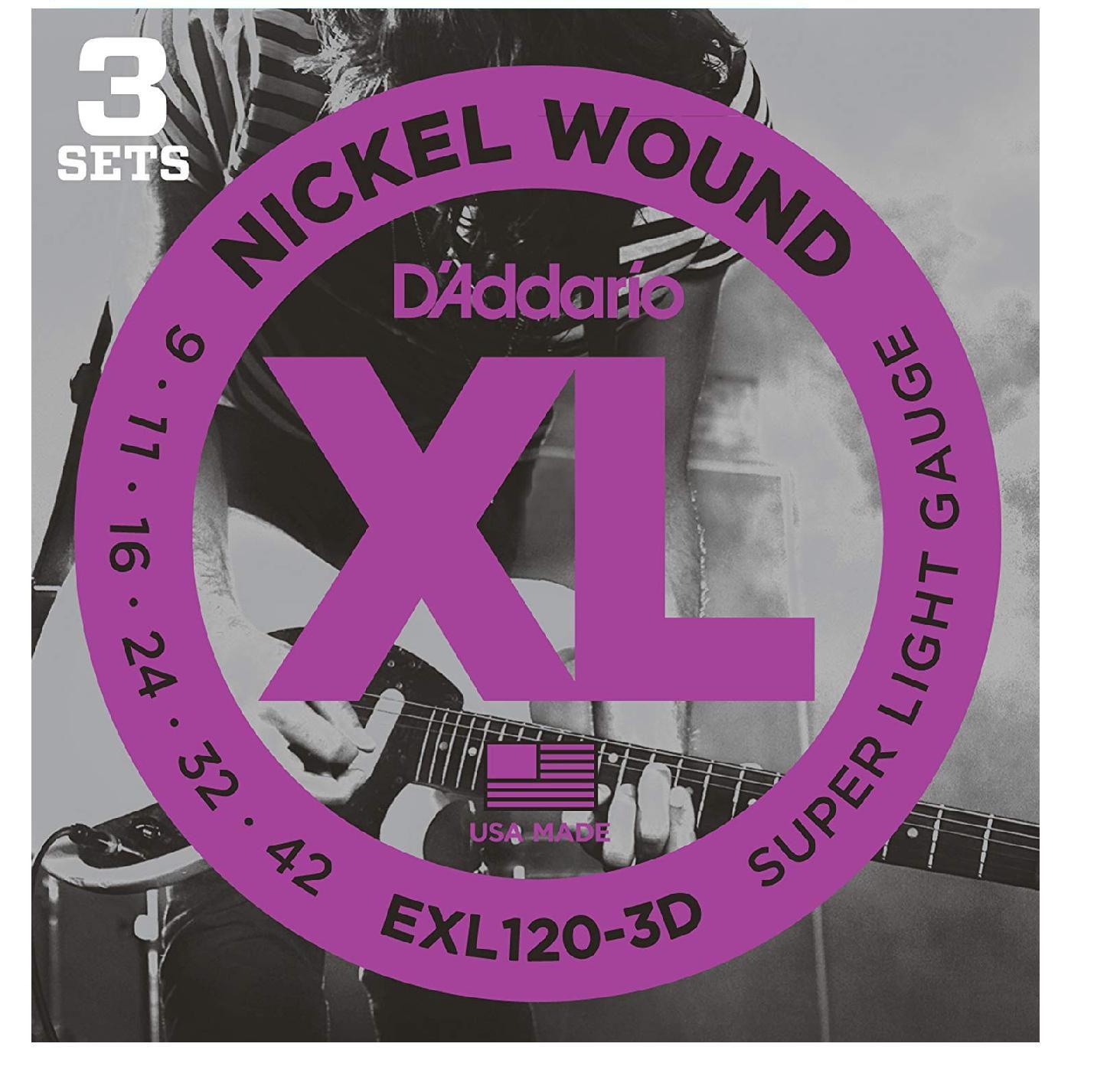 Kit com 3 Encordoamento Daddario para Guitarra EXL120-3D  009-042