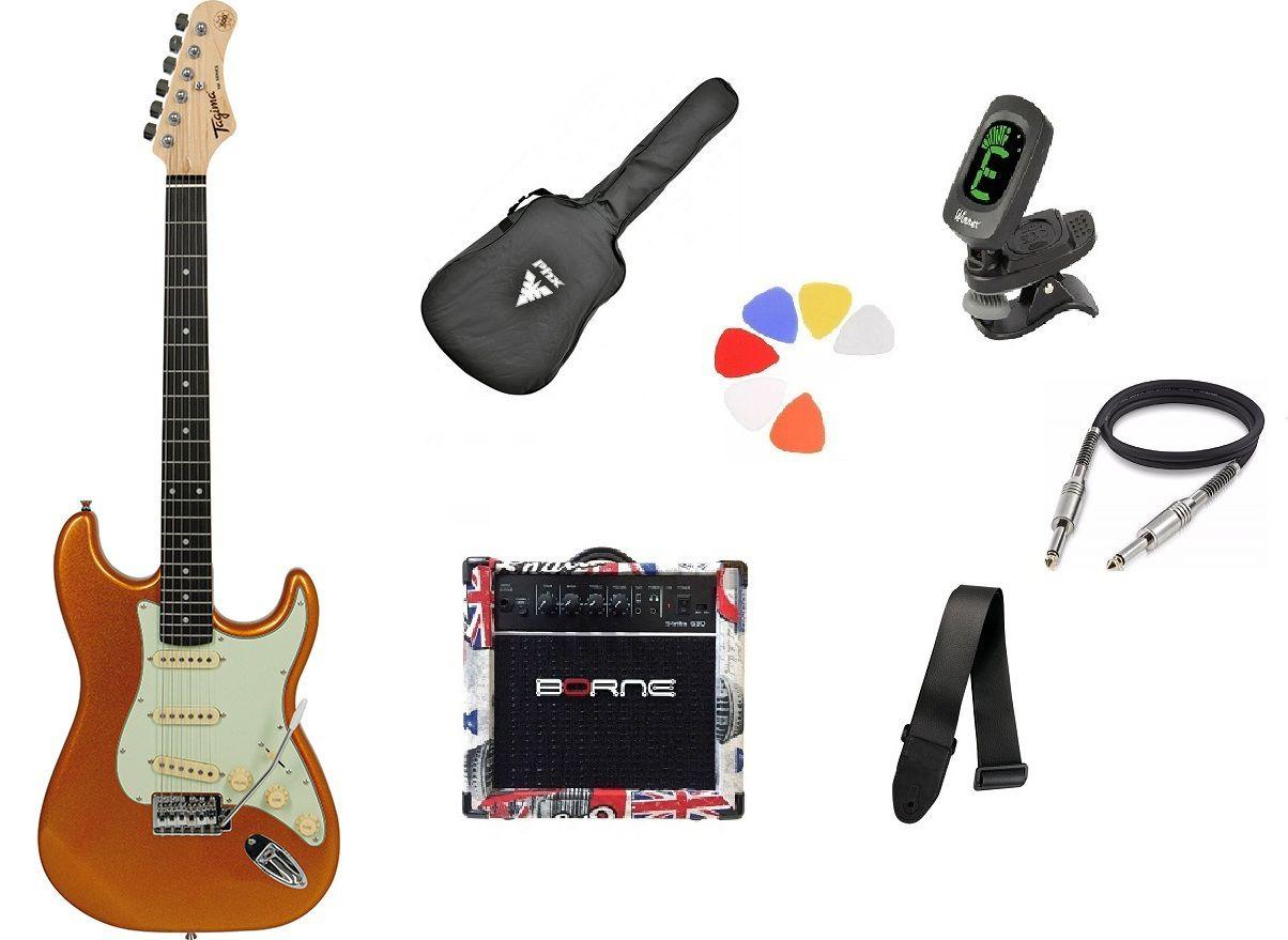Kit Guitarra Tagima Woodstock TG500 MGY Strato  G30 London