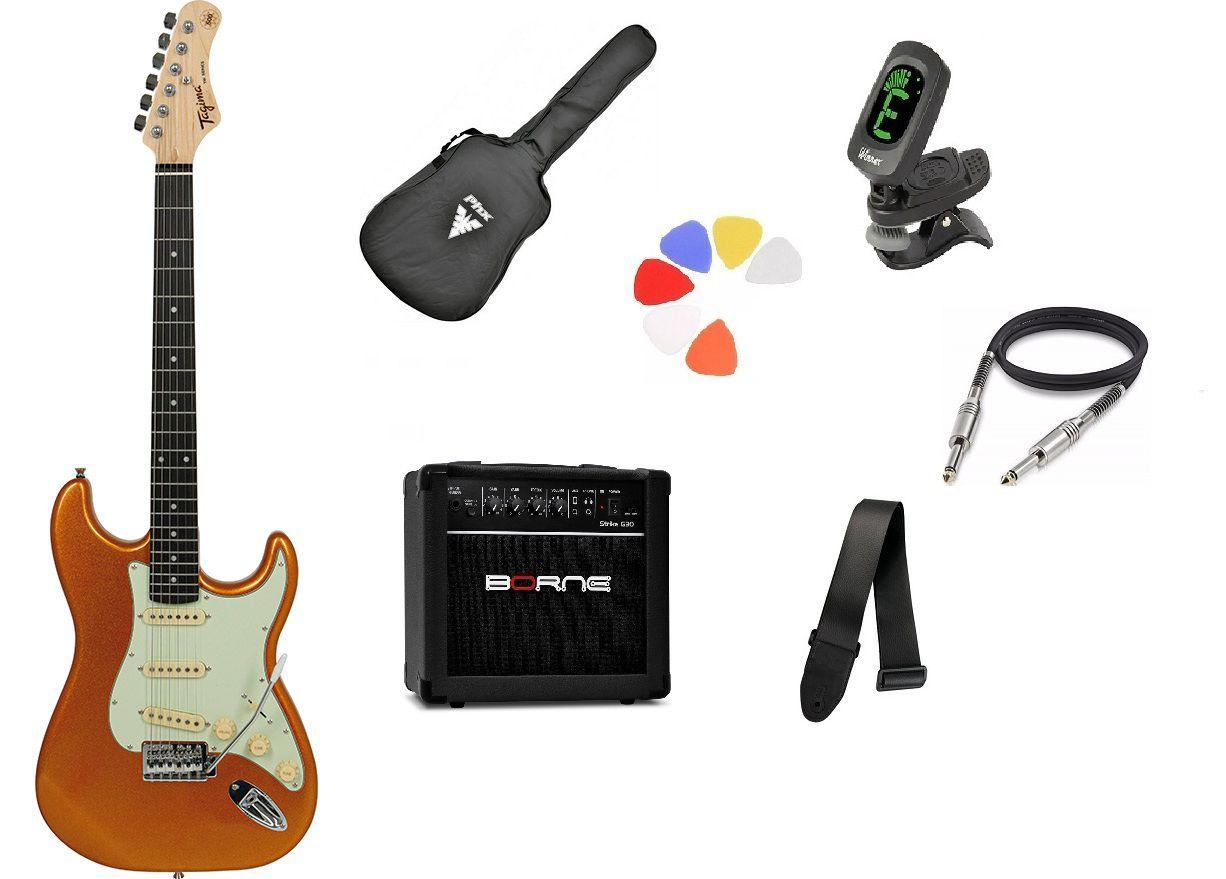 Kit Guitarra Tagima Woodstock TG500 MGY Strato G30 Preto