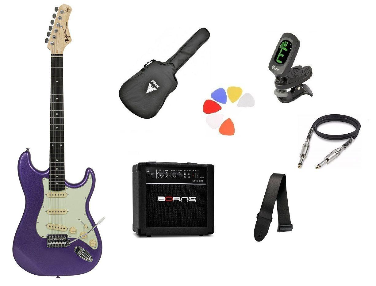 Kit Guitarra Tagima Woodstock TG500 MPP Strato  G30 Preto
