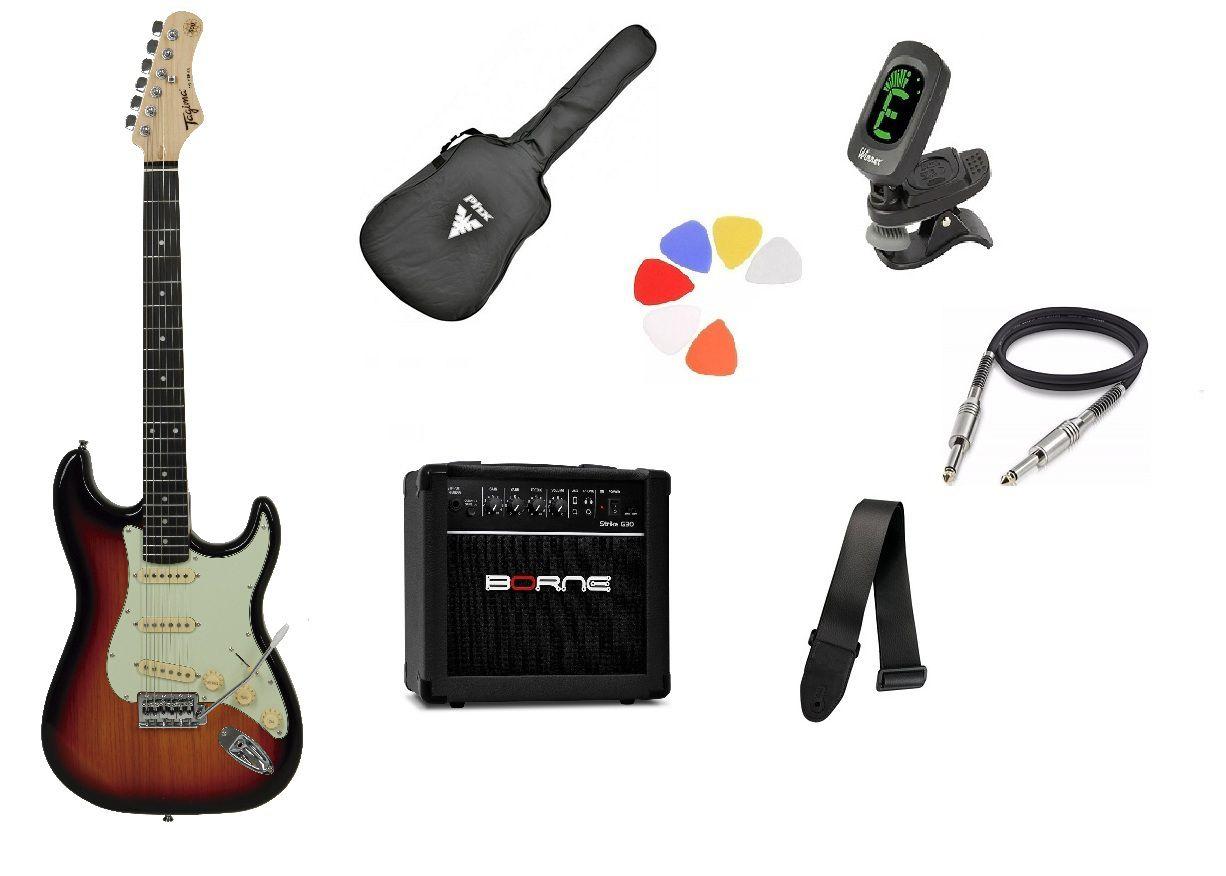 Kit Guitarra Tagima Woodstock TG500 SB Strato G30 Borne