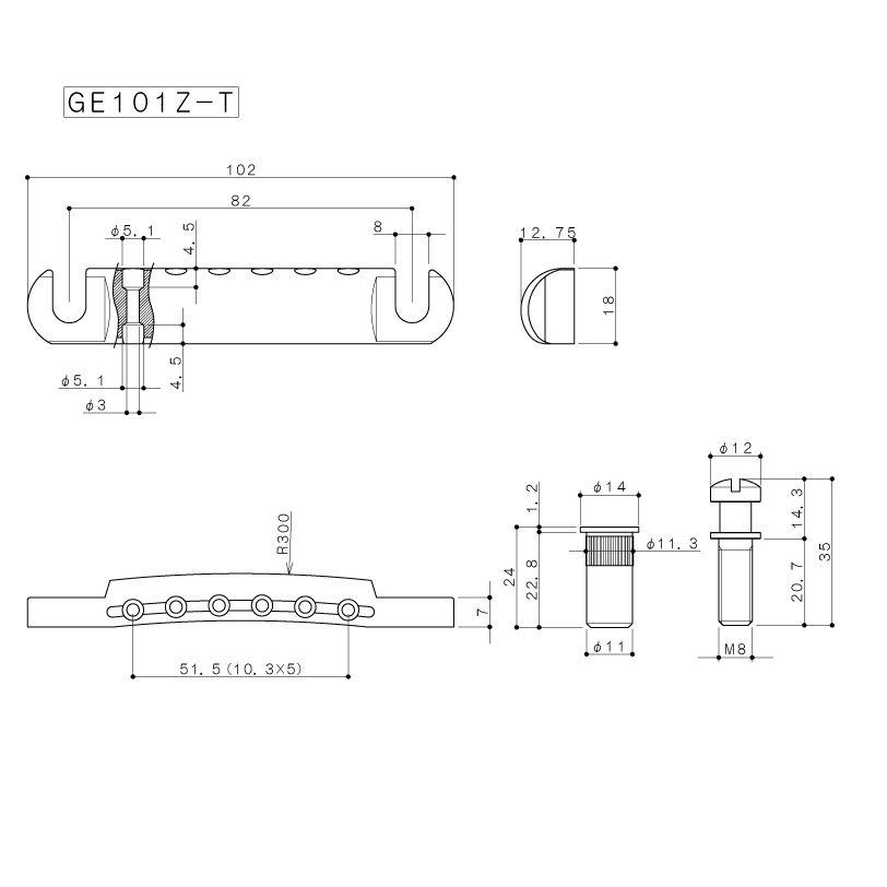 Ponte Tailpiece Gotoh GE101Z-T CR