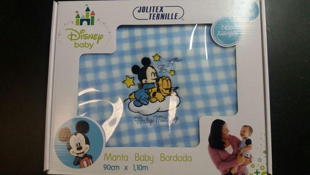 Manta baby Bordada Infantil Jolitex - Disney  Azul