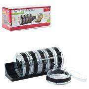 Porta Condimento  Redondo Kit Com 7 Pecas Suporte Plastico
