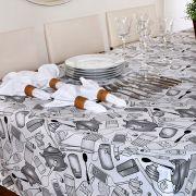Toalha de Mesa Quadrada Impermeavel 160X160 cm  Azeite Cinza