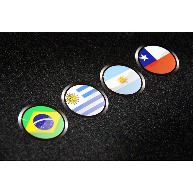 Adesivo Vinil Verniz Todas Bandeiras Países da América do Sul - Kit com 13 unidades