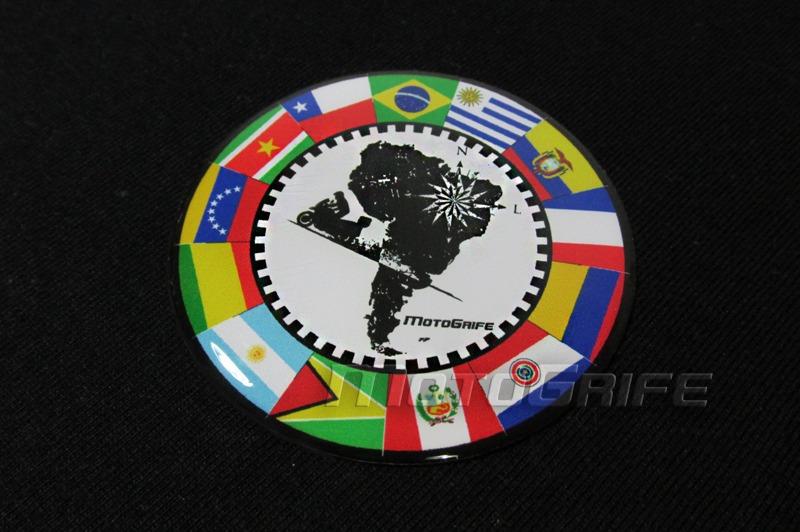 Emblema Resinado Bandeiras Da América Do Sul Mapa