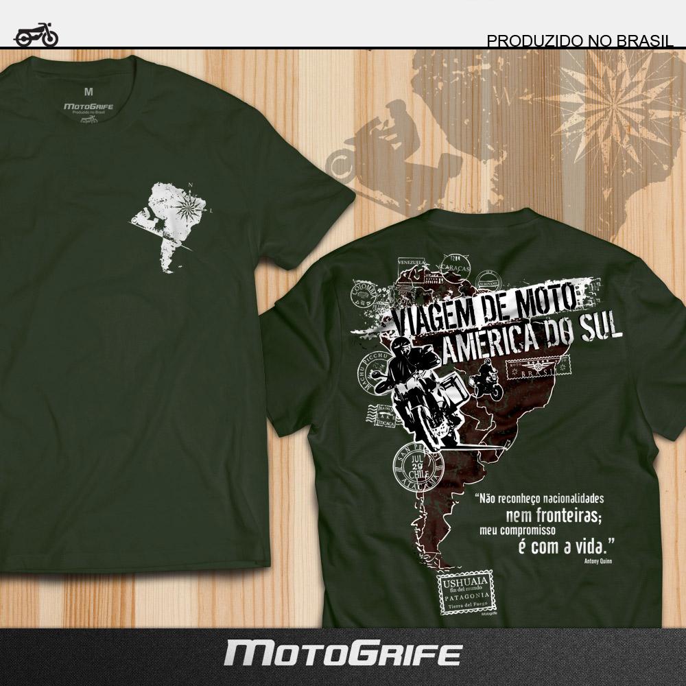 Camiseta Viagem de Moto América do Sul Verde - Mapa Marrom