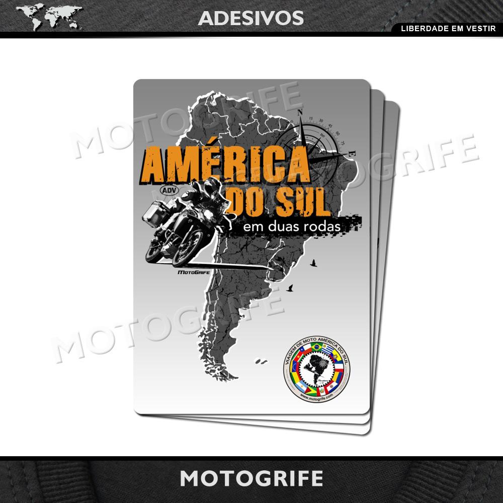 Adesivo América do Sul em Duas Rodas - Kit com 3 unidades