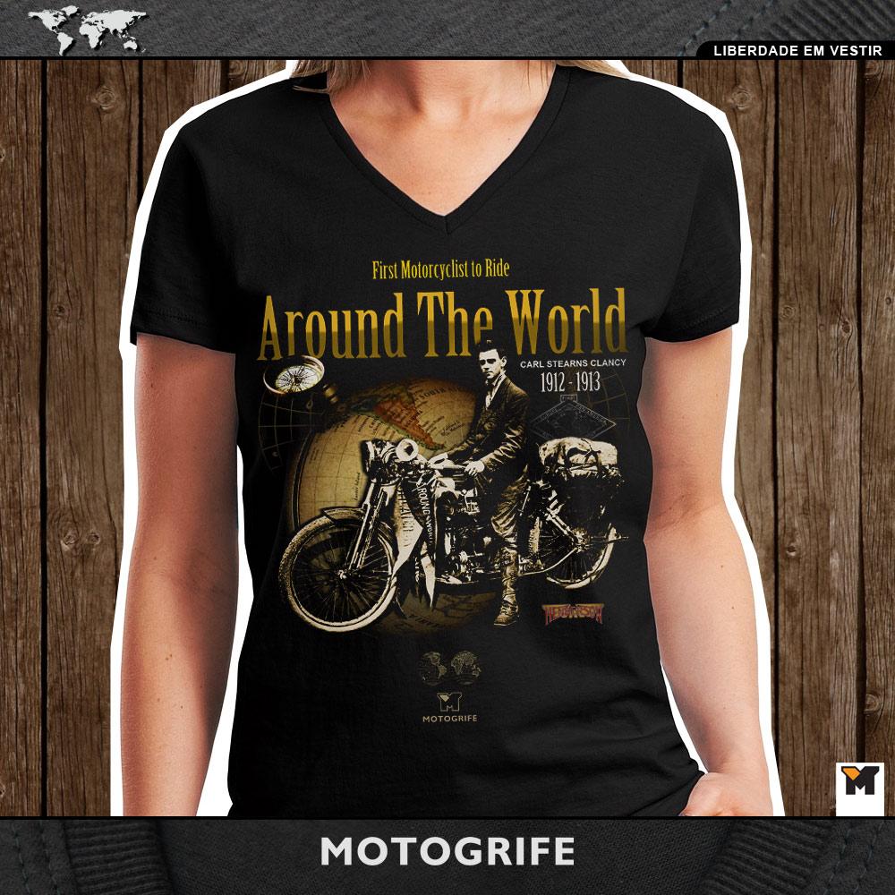 Camiseta Feminina Primeira Viagem de Volta ao Mundo - Preta