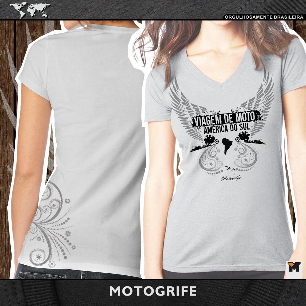 Camiseta Asas feminina - cor cinza