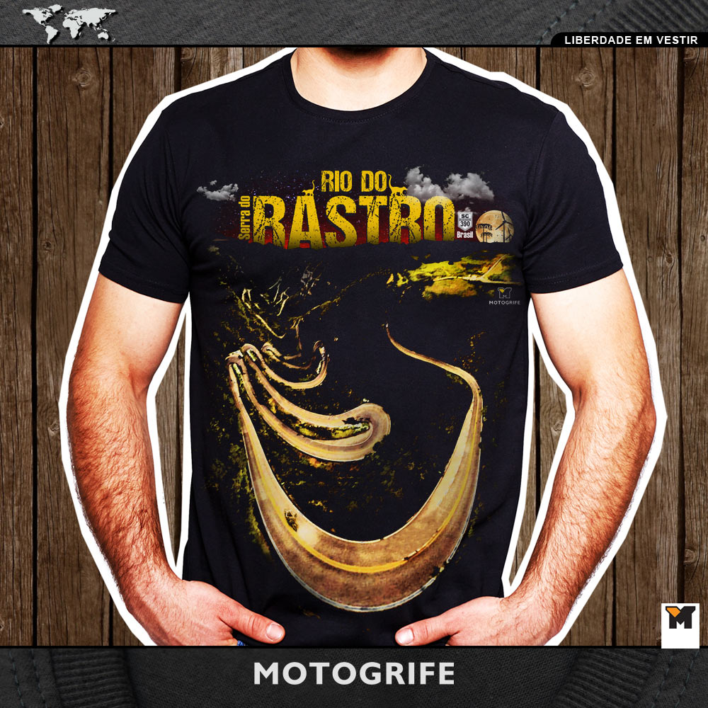 Camiseta Masculina Rio do Rastro Estampa Digital - preta