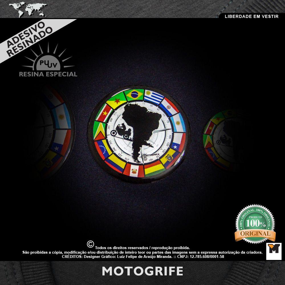 Adesivo resinado Viagem de Moto América do Sul