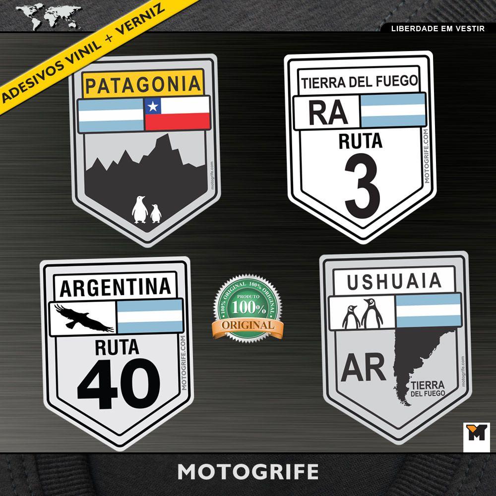 Adesivo Vinil Verniz Ruta 40 Ruta 3 Patagônia Ushuaia - Kit com 4 unidades