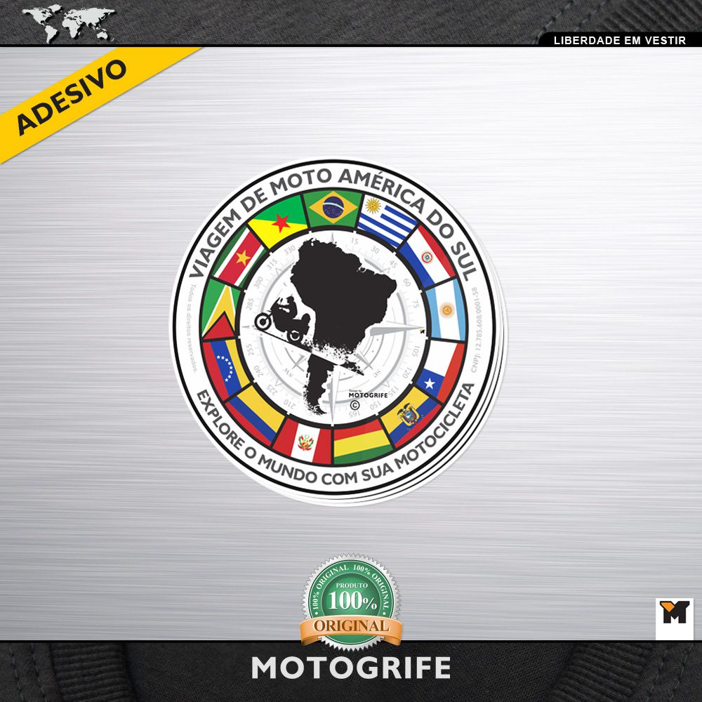 Adesivo Vinil Verniz Todas As Bandeiras Da América Do Sul Mapa - Kit com 3 unidades