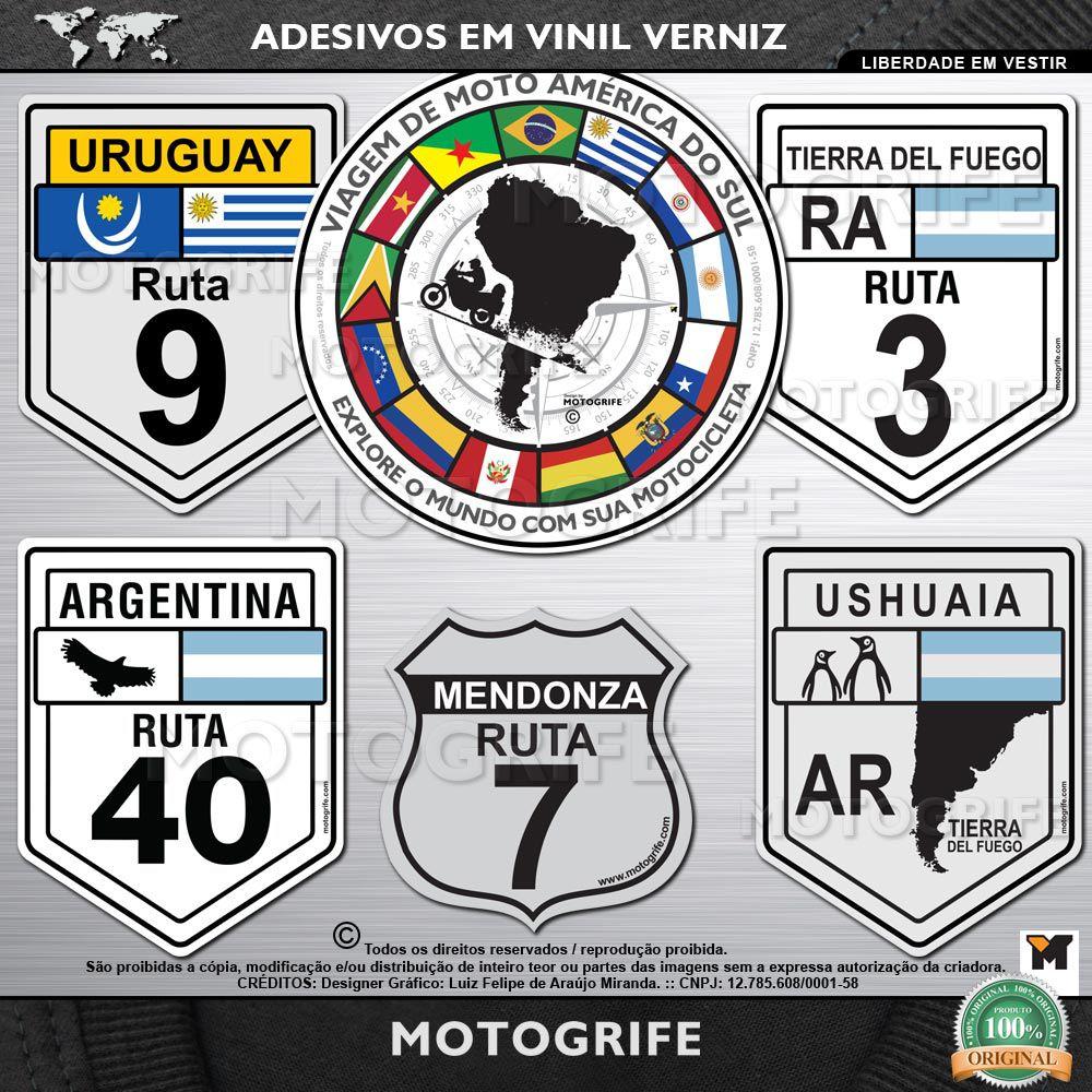Adesivos da América do Sul placas kit com 18 unidades