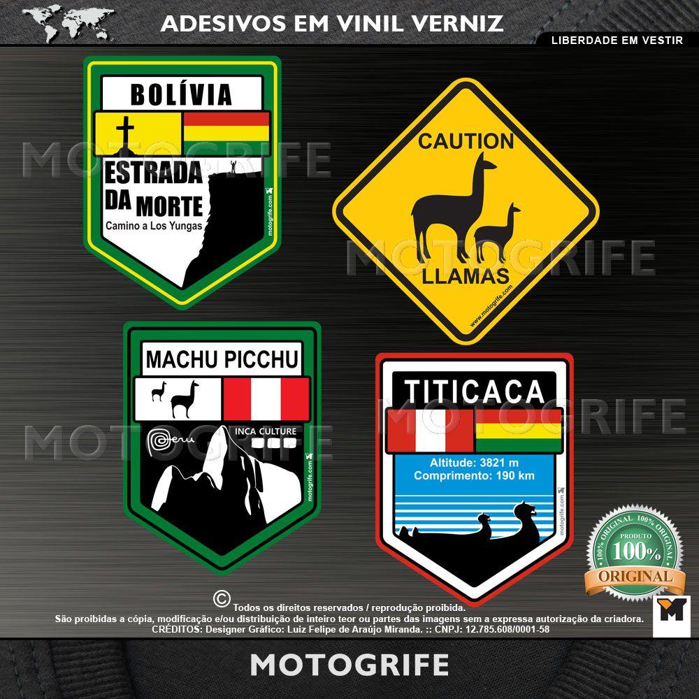 Adesivos Vinil Verniz estrada da morte machupicchu titicaca llamas Kit com 4 Unidades
