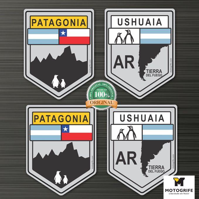 Adesivos Vinil Verniz Patagônia  e Ushuaia Tierra Del Fuego - Kit com 4 unidades